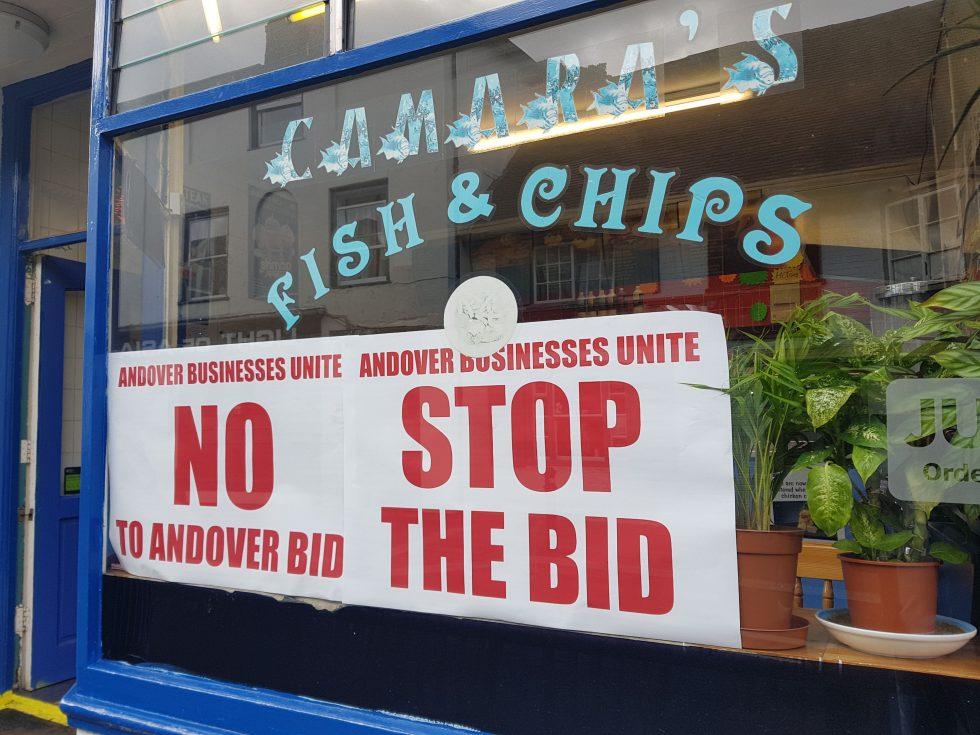 Andover No BID Camaras Fish and Chip Shop Andover High Street poster