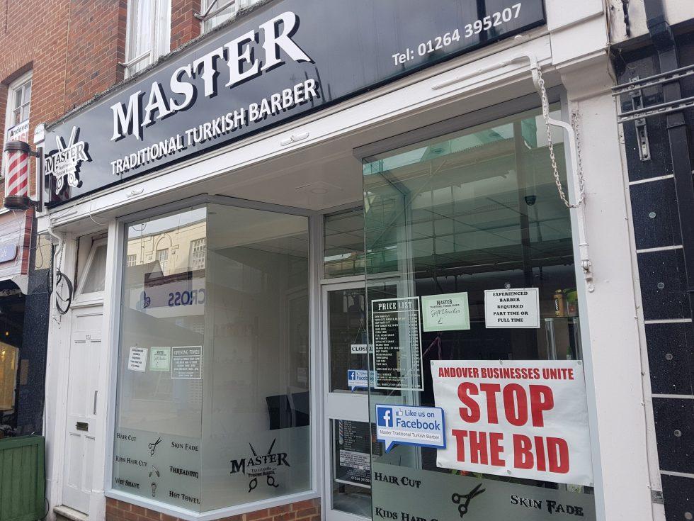 Andover No BID Master Barbers Andover Upper High Street poster